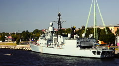 Stock Video Footage of NATO warship in the port of Riga