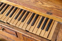 Wooden Old Piano - stock photo