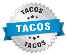 tacos 3d silver badge with blue ribbon - stock illustration