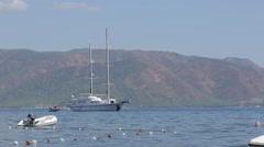 Boats on Aegean Sea near Iclemer, Marmaris, Anatolia, Turkey Stock Footage