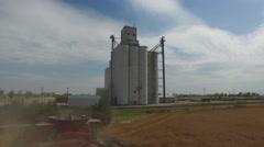 John Deere Wheat Harvest Aerial Stock Footage