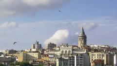 Galata Tower with beatiful spring clouds in Istanbul - Turkey Stock Footage