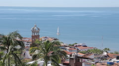 View over Downtown, Jalisco, Puerto Vallarta, Mexico, North America Stock Footage
