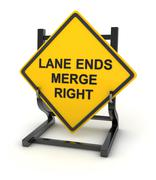 Road sign - lane ends merge right Stock Illustration