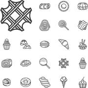 Simple line confectionery icons - stock illustration