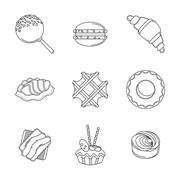 Line confectionery icons - stock illustration