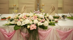 Wedding decor on the table bride and groom Stock Footage