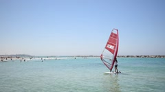 Windsurf in shallow water Stock Footage