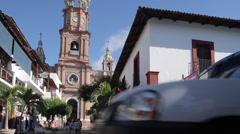 View of Parroquia de Guadalupe (Church of Our Lady of Guadalupe) Downtown Puerto Stock Footage