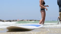 Stock Video Footage of surfboard on the beach
