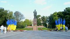 Taras Shevchenko monument with flags in Kiev, Ukraine. - stock footage