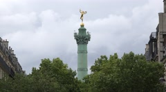 The July Column (in 4k), Place de la Bastille, Paris, France. Stock Footage
