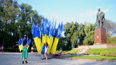 Taras Shevchenko monument in Kiev, Ukraine. - stock footage