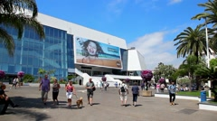 Facade of the Palais des Festivals during the Cannes Film Festival, France Stock Footage