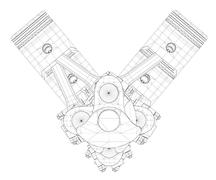 Stock Illustration of Pistons, V8 engine