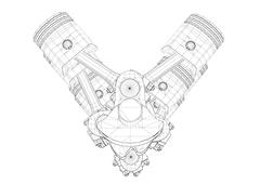 Stock Illustration of Pistons, V8 engine