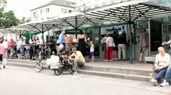 Area of fast food on the market in the old part of Dusseldorf at the summer day - stock footage