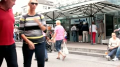 Area of fast food on the market in the old part of Dusseldorf at the summer day Stock Footage