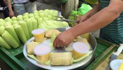 Pamonha and Curau cart sale. Its a typical food of green corn in Brazil. Stock Footage