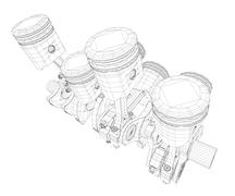 Pistons, V8 engine - stock illustration