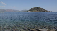 Beach, Trees & Aegean Sea Iclemer, Marmaris, Anatolia, Turkey - stock footage