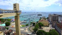 Aerial View of Lacerda Elevator and All Saints Bay in Salvador, Bahia, Brazil Stock Footage
