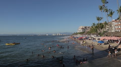 View of Beach, Downtown, Puerto Vallarta, Jalisco, Mexico, North America - stock footage