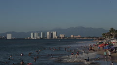 View of Beach, Downtown, Puerto Vallarta, Jalisco, Mexico, North America Stock Footage