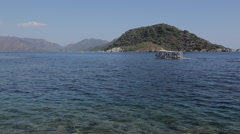 Beach, Trees & Aegean Sea Iclemer, Marmaris, Anatolia, Turkey Stock Footage