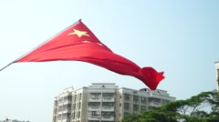 Chinese national flag, in Baoan Avenue, Shenzhen, China Stock Footage