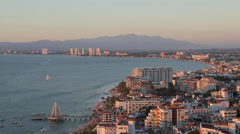 Panoramic Vie of Downtown at Dusk, Downtown, Puerto Vallarta, Jalisco, Mexico, - stock footage