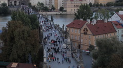 View of Old Town and Charles Bridge from Charles Bridge, Prague, Czech Republic, Stock Footage