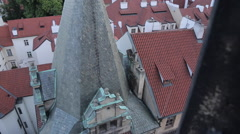View of Castle District from Charles Bridge, Prague, Czech Republic, Europe Stock Footage