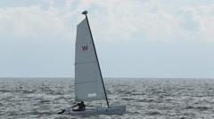 Catamaran on the ocean, Nuevo Vallarta, Nayarit, Puerto Vallarta, Mexico, North Stock Footage