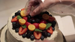 Berry Strawberry Cake Decoration Stock Footage
