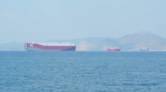 Large Tanker In The Sea View Stock Footage