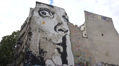 Wall mural close to the Centre Georges Pompidou (in 4k), Paris, France. Stock Footage