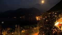 night storm lightning Lake Lugano Swiss Alps tourism destination time lapse - stock footage