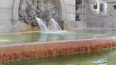 CU, fish fountain, 'Plaza Catalunya'. - stock footage
