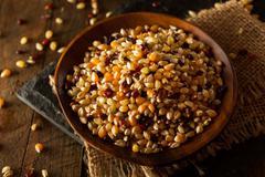 Raw Organic Multi Colored Calico Popcorn Stock Photos