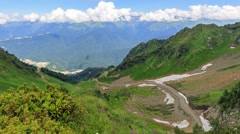 Ski slope in the summer of Rosa Khutor. Time Lapse. Sochi, Russia. 1280x720 - stock footage
