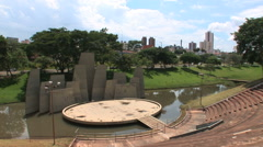 Outdoor auditorium, music, park. Brazilian city - Bauru, Sao Paulo. - stock footage
