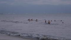 Bathers at Sunset, Nuevo Vallarta, Nayarit, Puerto Vallarta, Mexico, North Stock Footage