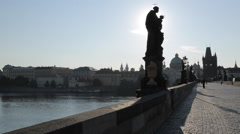 View of Charles Bridge from Charles Bridge at Sunrise, Prague, Czech Republic, Stock Footage
