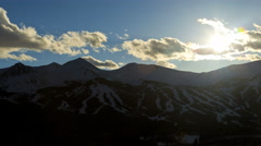 Sunrise Breckenridge Colorado winter mountain landscape snow Rockies time lapse Stock Footage
