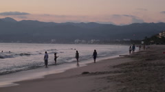 Beach at Sunset, Nuevo Vallarta, Nayarit, Puerto Vallarta, Mexico, North America - stock footage