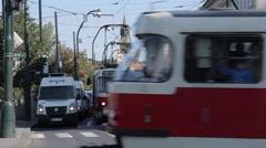 City Trams on Smetanovo n! b , Prague, Czech Republic, Europe Stock Footage