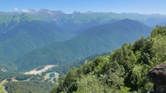 Over the mountains. Rosa Khutor. Sochi, Russia. 1280x720 Stock Footage