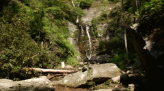 tall waterfall debris appalachian mountains - stock footage
