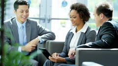 African American Asian Chinese Caucasian male female business team meeting Stock Footage